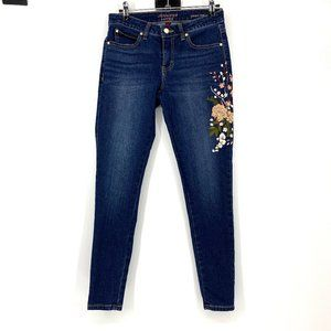 Jennifer Lopez Skinny Ankle Embroidered Jeans